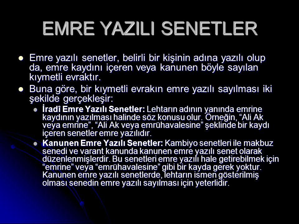 EMRE YAZILI SENETLER