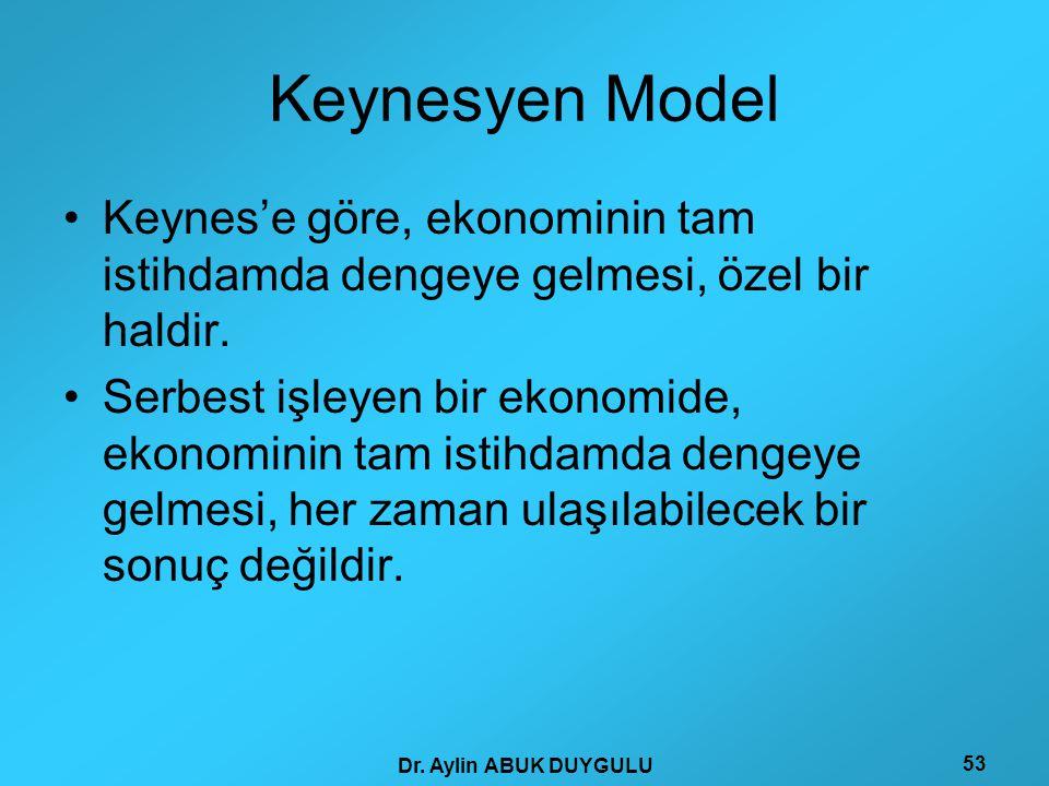 Keynesyen Model Keynes'e göre, ekonominin tam istihdamda dengeye gelmesi, özel bir haldir.