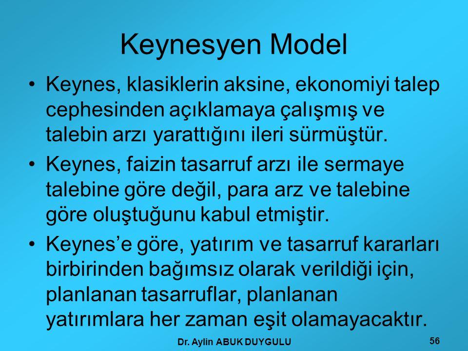 Keynesyen Model Keynes, klasiklerin aksine, ekonomiyi talep cephesinden açıklamaya çalışmış ve talebin arzı yarattığını ileri sürmüştür.