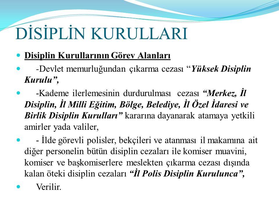 DİSİPLİN KURULLARI Disiplin Kurullarının Görev Alanları