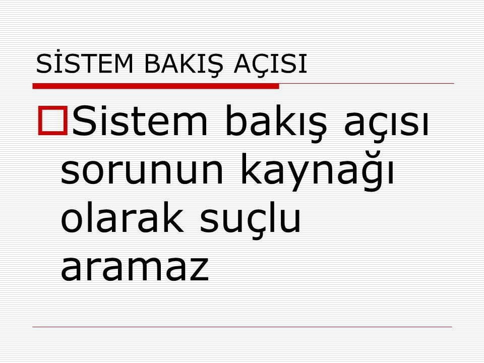 Sistem bakış açısı sorunun kaynağı olarak suçlu aramaz