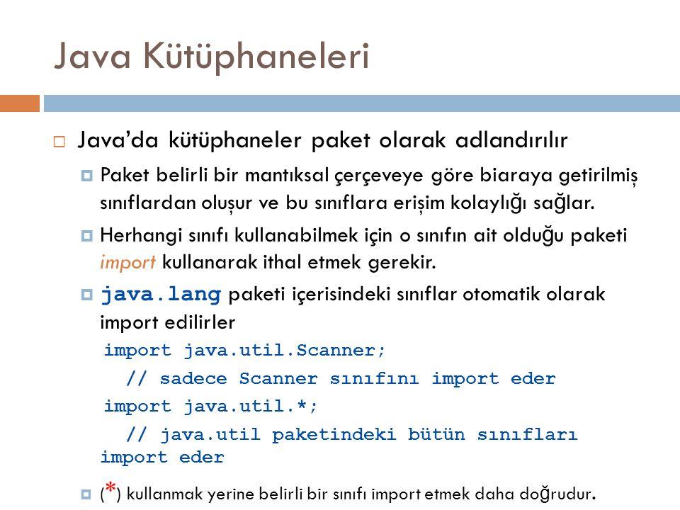 Java Kütüphaneleri Java'da kütüphaneler paket olarak adlandırılır