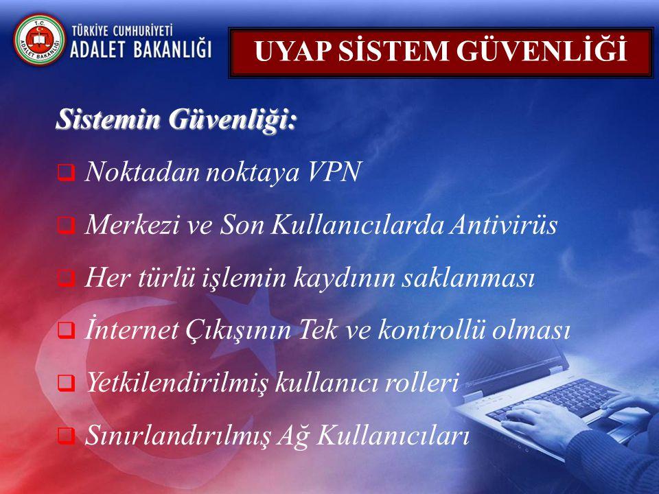 UYAP SİSTEM GÜVENLİĞİ Sistemin Güvenliği: Noktadan noktaya VPN. Merkezi ve Son Kullanıcılarda Antivirüs.