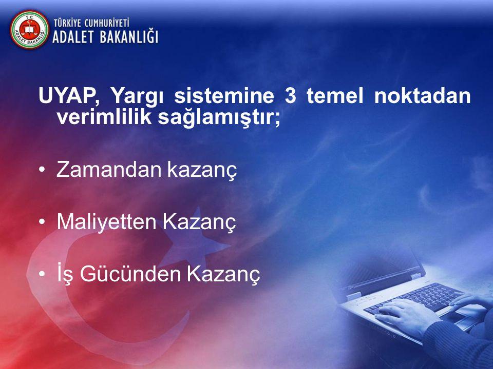 UYAP, Yargı sistemine 3 temel noktadan verimlilik sağlamıştır;