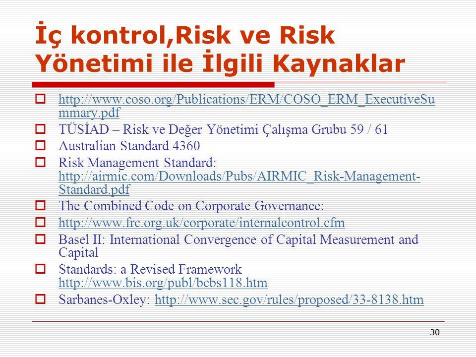 İç kontrol,Risk ve Risk Yönetimi ile İlgili Kaynaklar