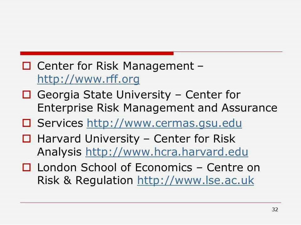 Center for Risk Management – http://www.rff.org
