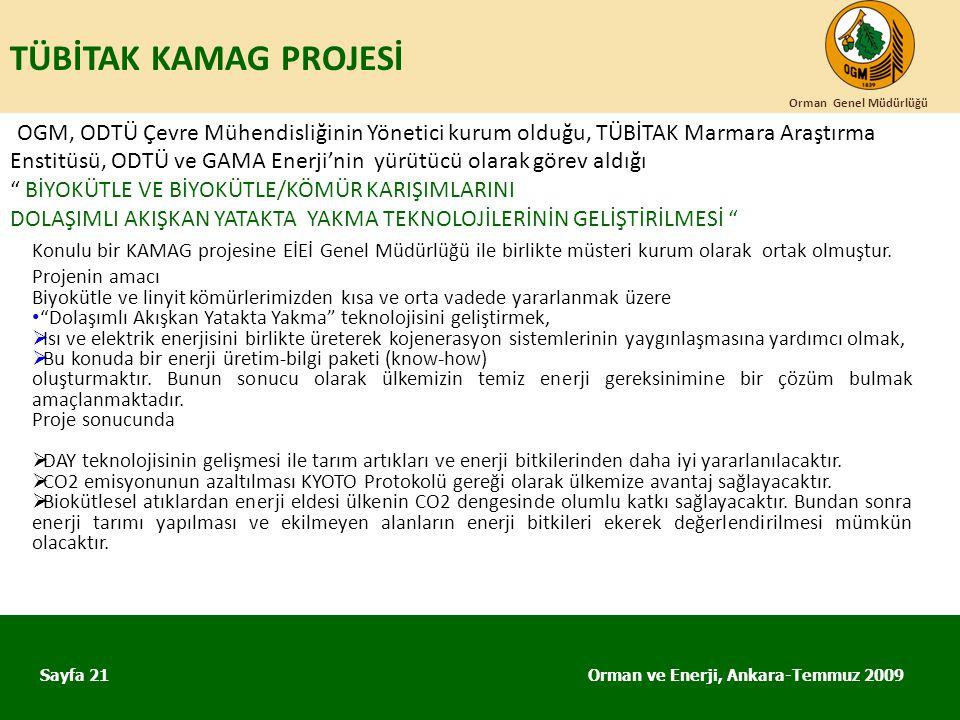 TÜBİTAK KAMAG PROJESİ Orman Genel Müdürlüğü.