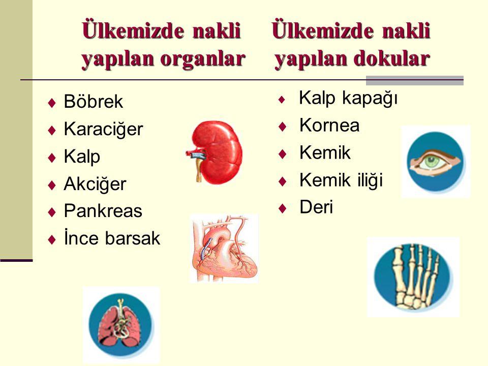 Ülkemizde nakli Ülkemizde nakli yapılan organlar yapılan dokular