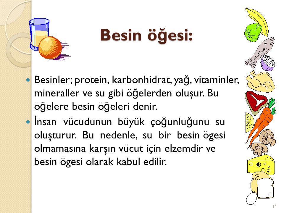 Besin öğesi: Besinler; protein, karbonhidrat, yağ, vitaminler, mineraller ve su gibi öğelerden oluşur. Bu öğelere besin öğeleri denir.