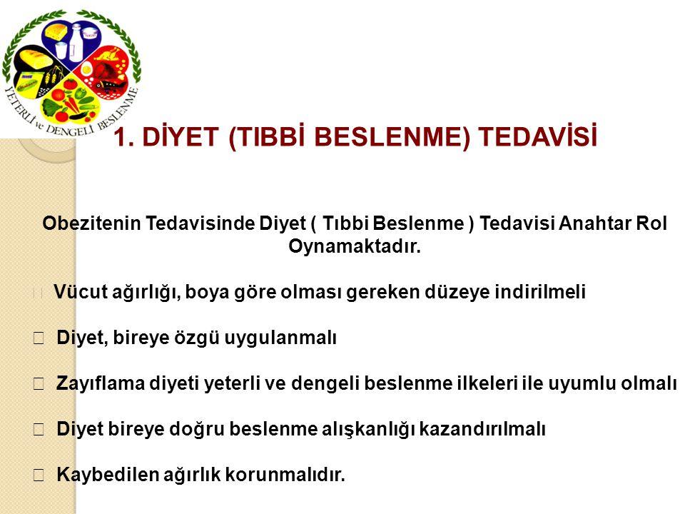 1. DİYET (TIBBİ BESLENME) TEDAVİSİ