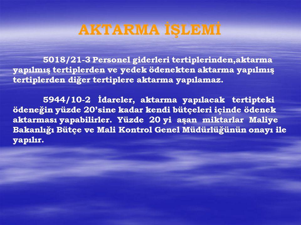 AKTARMA İŞLEMİ 5018/21-3 Personel giderleri tertiplerinden,aktarma