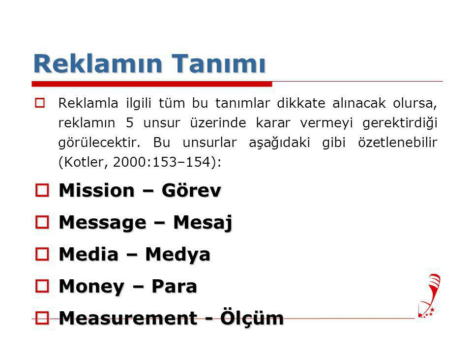 Reklamın Tanımı Mission – Görev Message – Mesaj Media – Medya