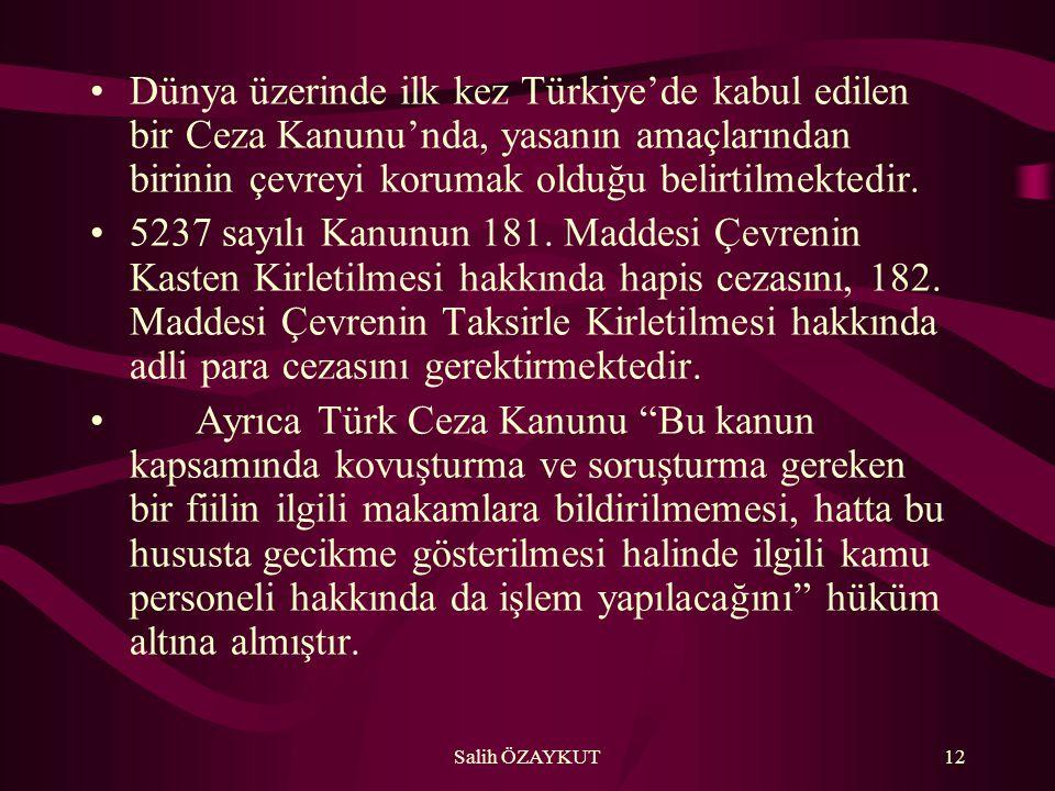 Dünya üzerinde ilk kez Türkiye'de kabul edilen bir Ceza Kanunu'nda, yasanın amaçlarından birinin çevreyi korumak olduğu belirtilmektedir.