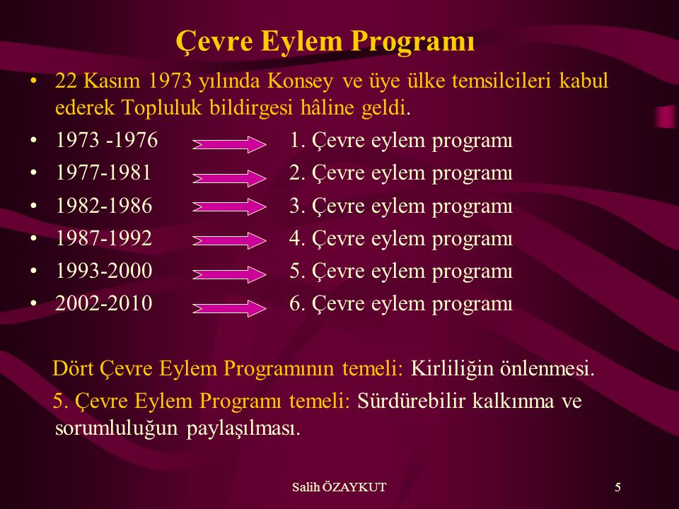 Çevre Eylem Programı 22 Kasım 1973 yılında Konsey ve üye ülke temsilcileri kabul ederek Topluluk bildirgesi hâline geldi.