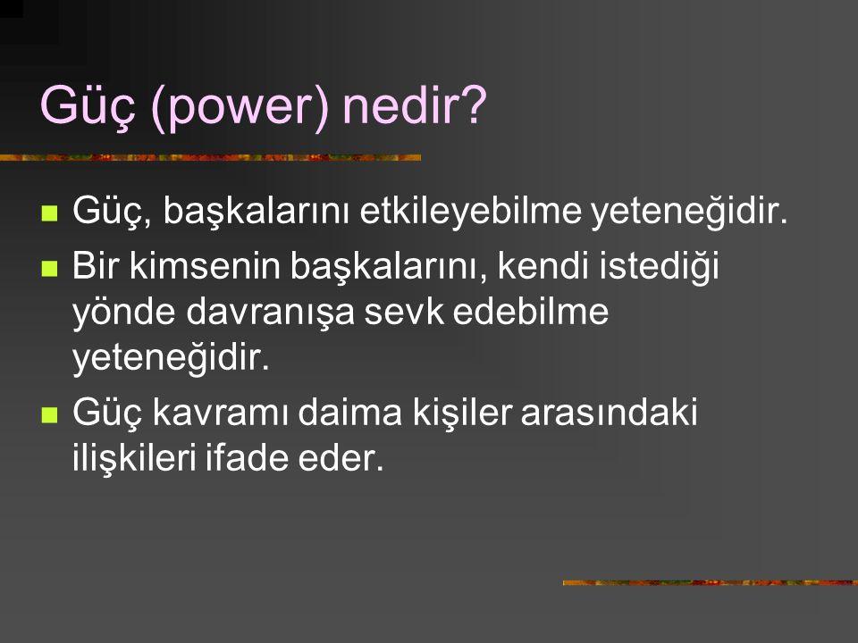 Güç (power) nedir Güç, başkalarını etkileyebilme yeteneğidir.