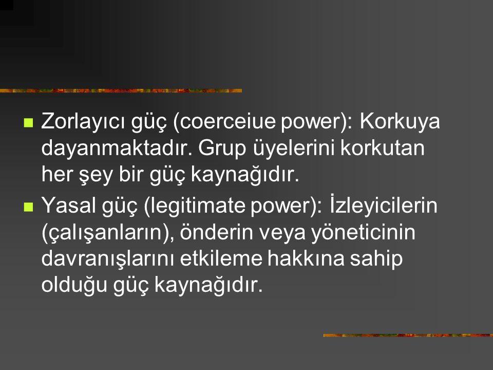 Zorlayıcı güç (coerceiue power): Korkuya dayanmaktadır