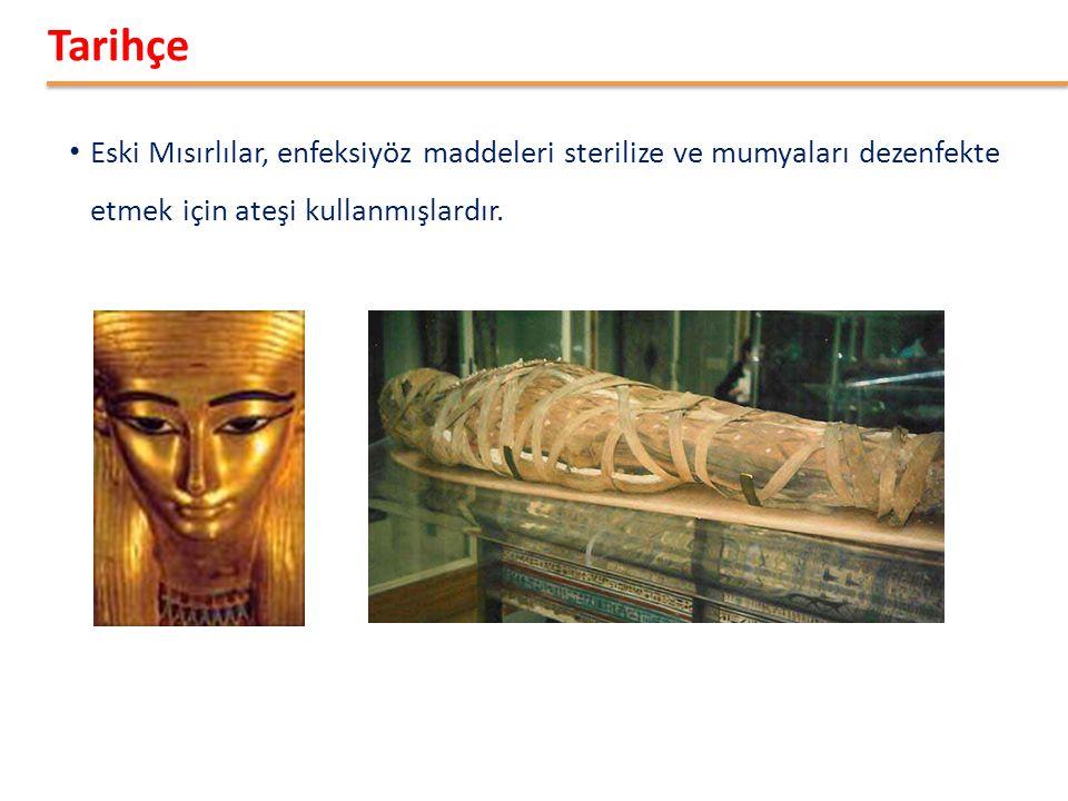Tarihçe Eski Mısırlılar, enfeksiyöz maddeleri sterilize ve mumyaları dezenfekte etmek için ateşi kullanmışlardır.