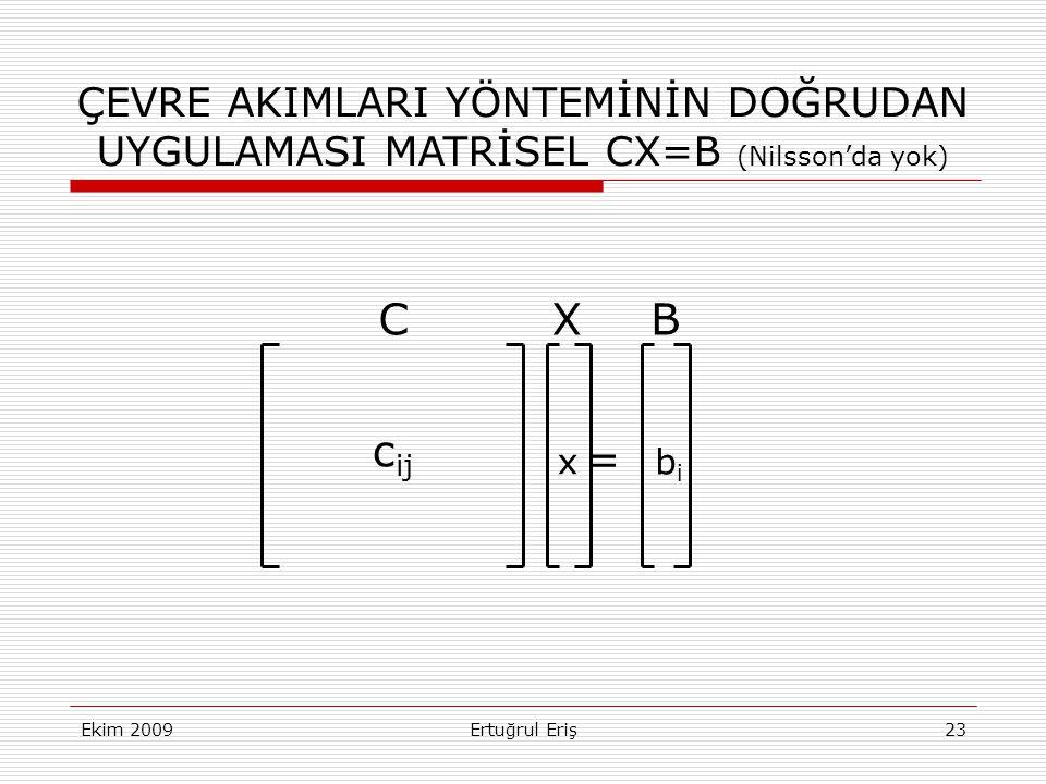 ÇEVRE AKIMLARI YÖNTEMİNİN DOĞRUDAN UYGULAMASI MATRİSEL CX=B (Nilsson'da yok)