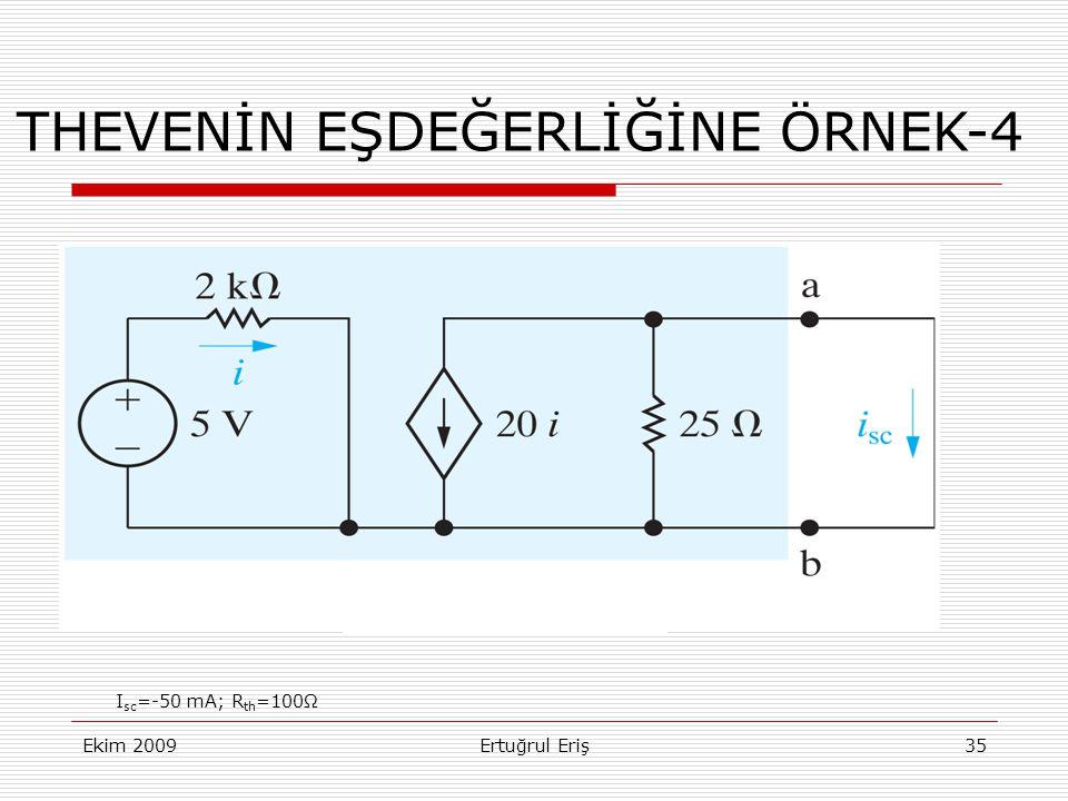 THEVENİN EŞDEĞERLİĞİNE ÖRNEK-4