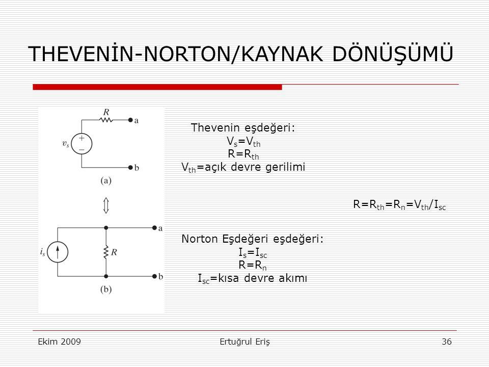 THEVENİN-NORTON/KAYNAK DÖNÜŞÜMÜ