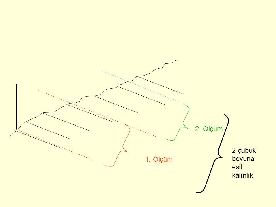 2. Ölçüm 2 çubuk boyuna eşit kalınlık 1. Ölçüm