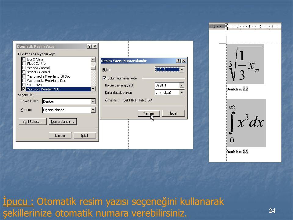 İpucu : Otomatik resim yazısı seçeneğini kullanarak şekillerinize otomatik numara verebilirsiniz.