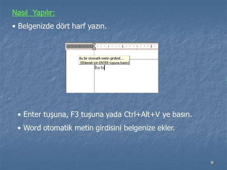 Nasıl Yapılır: Belgenizde dört harf yazın. Enter tuşuna, F3 tuşuna yada Ctrl+Alt+V ye basın.
