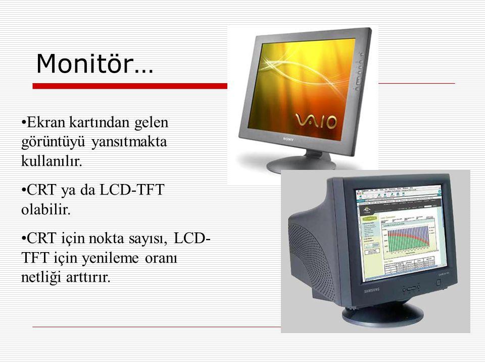 Monitör… Ekran kartından gelen görüntüyü yansıtmakta kullanılır.