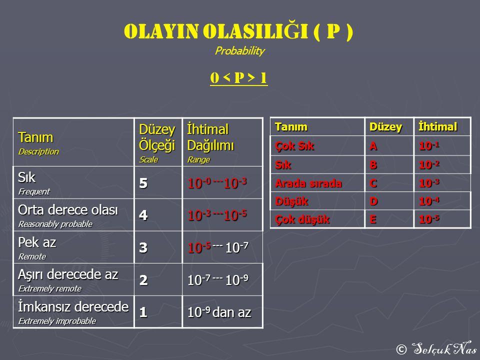 OLAYIN OLASILIĞI ( P ) 0 < P > 1 Tanım Düzey Ölçeği