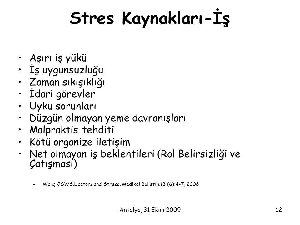 Stres Kaynakları-İş Aşırı iş yükü İş uygunsuzluğu Zaman sıkışıklığı