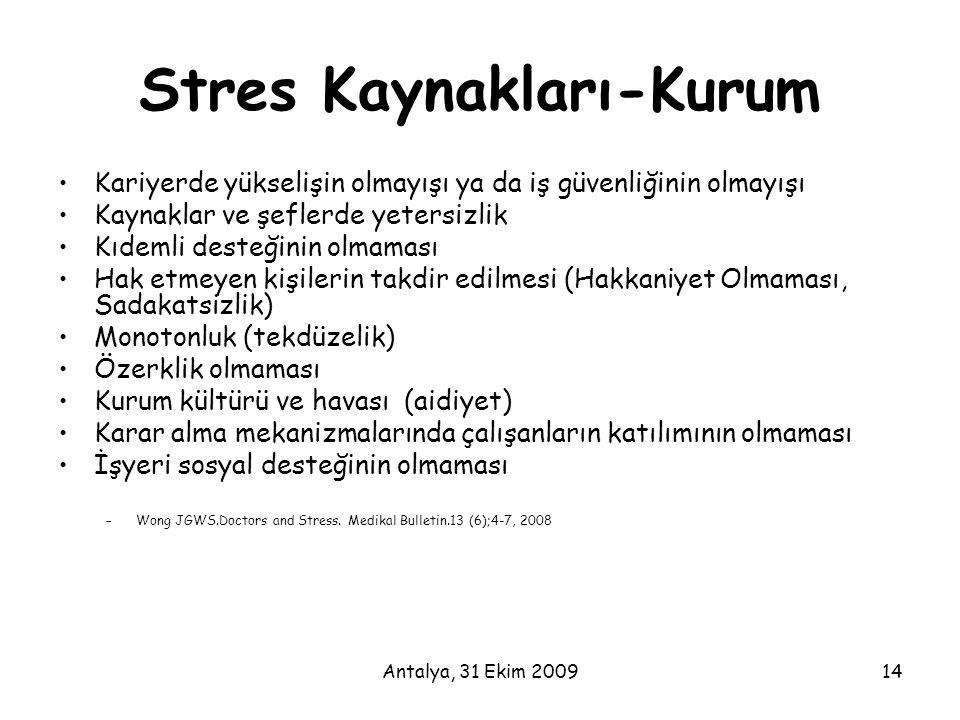 Stres Kaynakları-Kurum