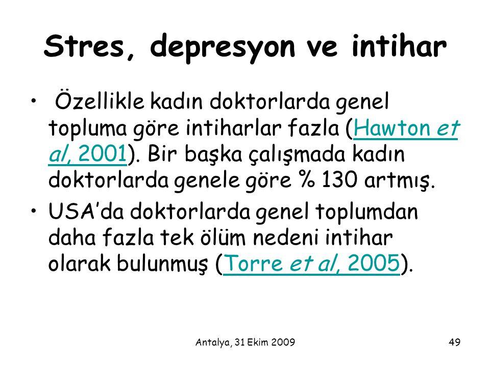 Stres, depresyon ve intihar