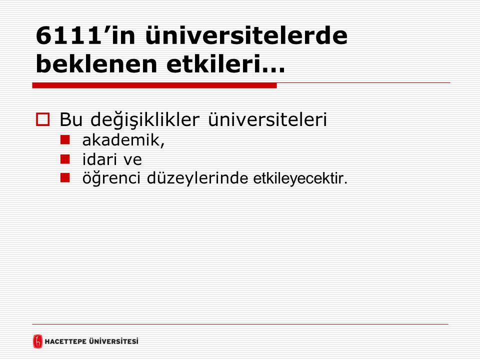 6111'in üniversitelerde beklenen etkileri…