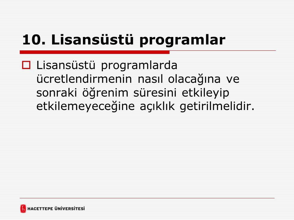 10. Lisansüstü programlar