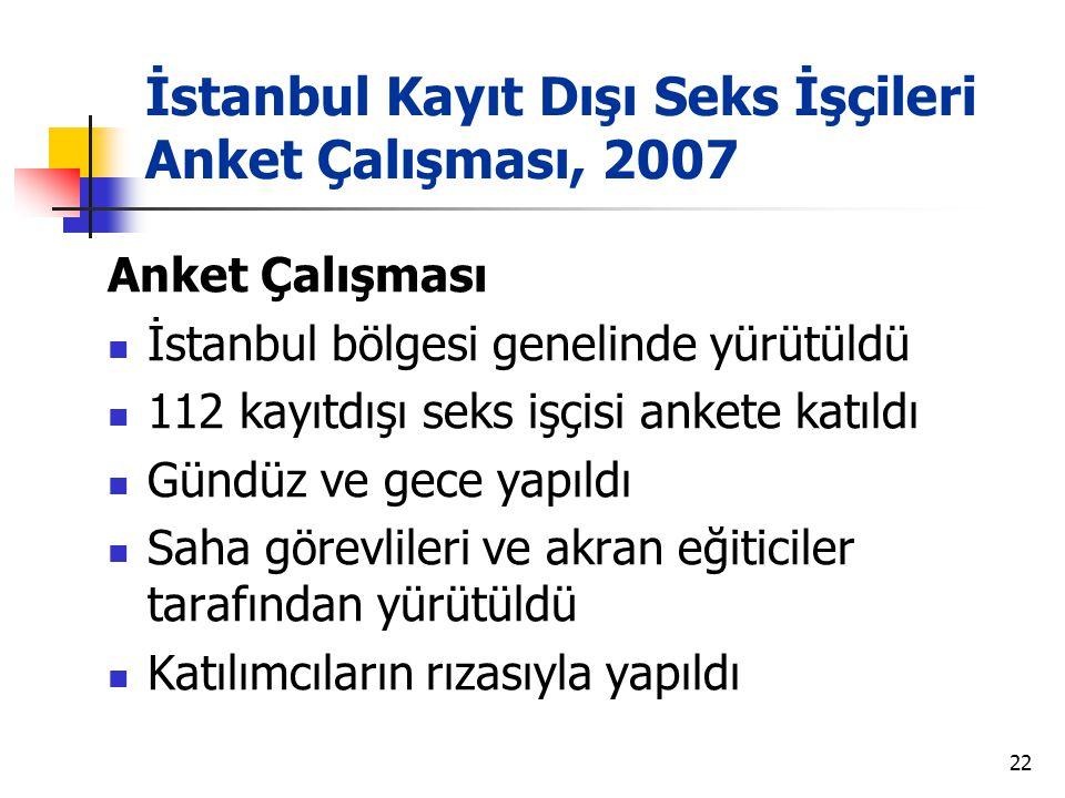 İstanbul Kayıt Dışı Seks İşçileri Anket Çalışması, 2007