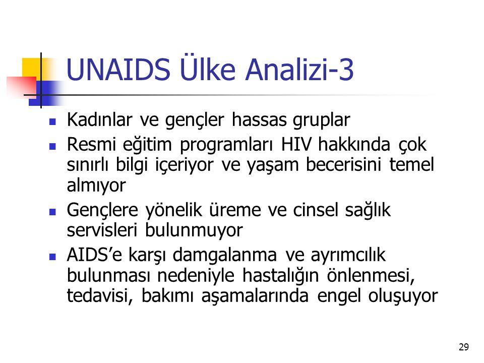 UNAIDS Ülke Analizi-3 Kadınlar ve gençler hassas gruplar