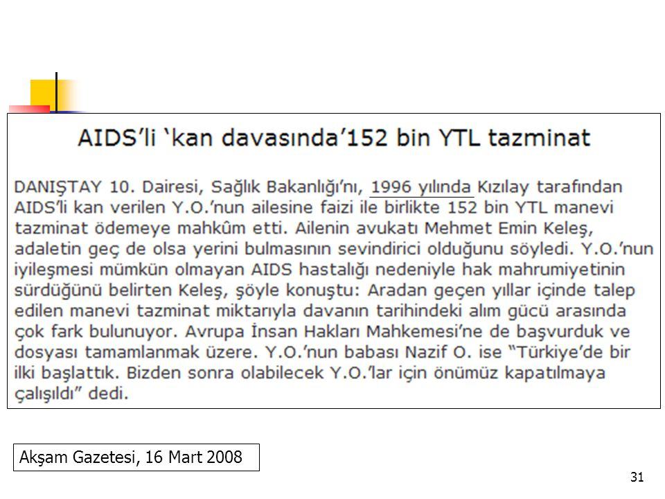 Akşam Gazetesi, 16 Mart 2008