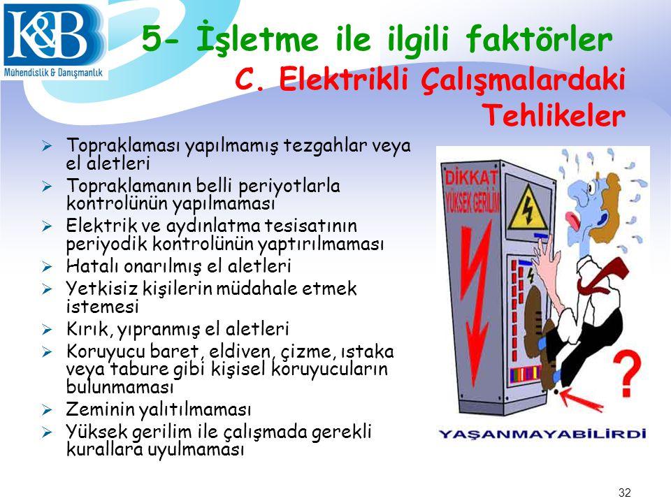 C. Elektrikli Çalışmalardaki Tehlikeler