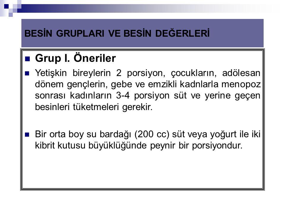 Grup I. Öneriler BESİN GRUPLARI VE BESİN DEĞERLERİ