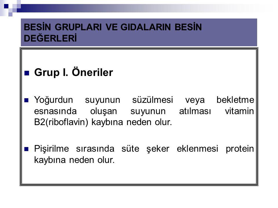 Grup I. Öneriler BESİN GRUPLARI VE GIDALARIN BESİN DEĞERLERİ