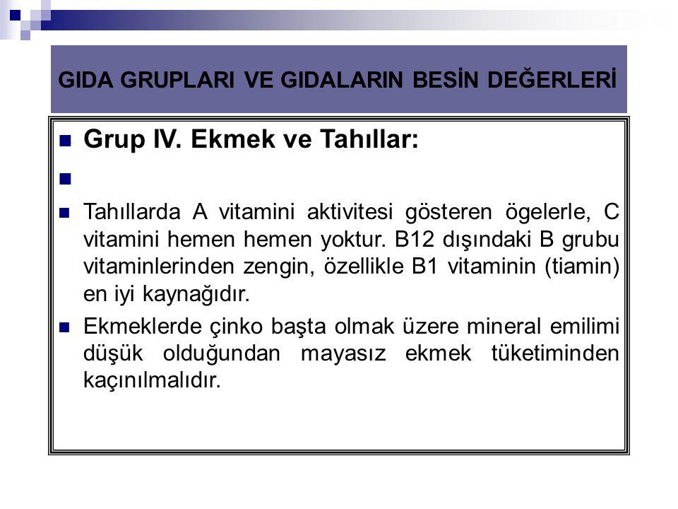 Grup IV. Ekmek ve Tahıllar: