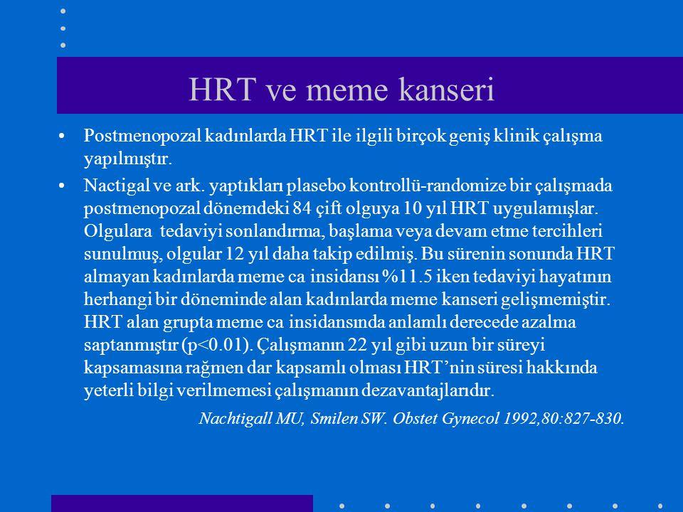 HRT ve meme kanseri Postmenopozal kadınlarda HRT ile ilgili birçok geniş klinik çalışma yapılmıştır.