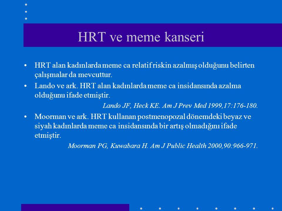 HRT ve meme kanseri HRT alan kadınlarda meme ca relatif riskin azalmış olduğunu belirten çalışmalar da mevcuttur.