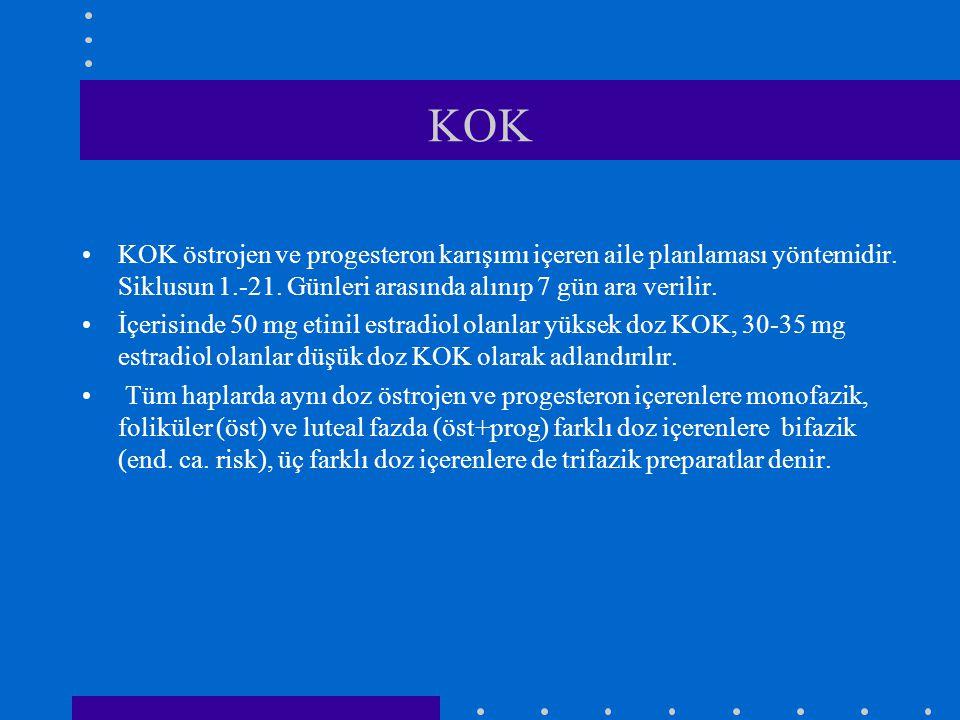 KOK KOK östrojen ve progesteron karışımı içeren aile planlaması yöntemidir. Siklusun 1.-21. Günleri arasında alınıp 7 gün ara verilir.