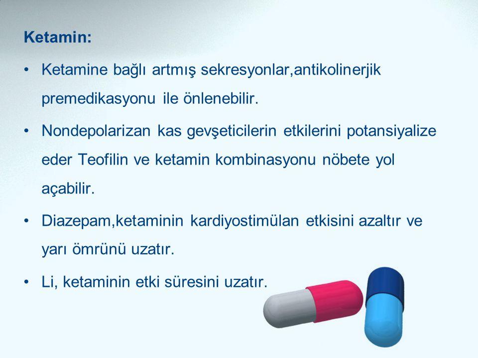Ketamin: Ketamine bağlı artmış sekresyonlar,antikolinerjik premedikasyonu ile önlenebilir.