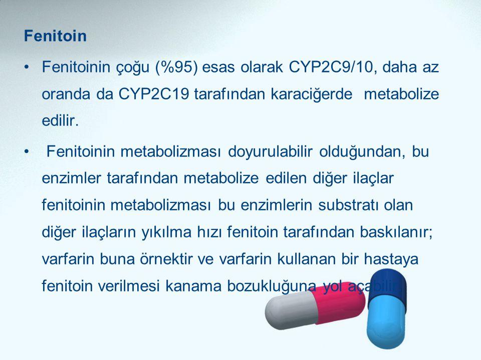 Fenitoin Fenitoinin çoğu (%95) esas olarak CYP2C9/10, daha az oranda da CYP2C19 tarafından karaciğerde metabolize edilir.