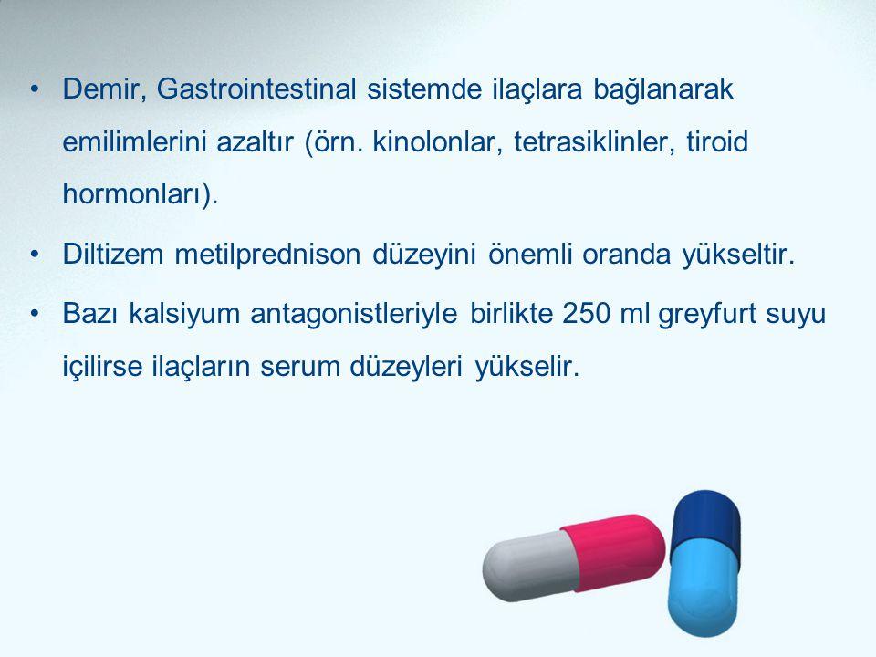 Demir, Gastrointestinal sistemde ilaçlara bağlanarak emilimlerini azaltır (örn. kinolonlar, tetrasiklinler, tiroid hormonları).