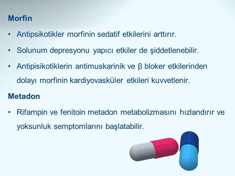 Morfin Antipsikotikler morfinin sedatif etkilerini arttırır. Solunum depresyonu yapıcı etkiler de şiddetlenebilir.