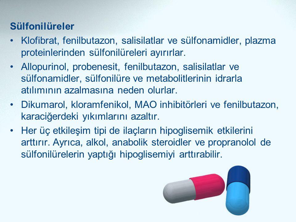 Sülfonilüreler Klofibrat, fenilbutazon, salisilatlar ve sülfonamidler, plazma proteinlerinden sülfonilüreleri ayırırlar.