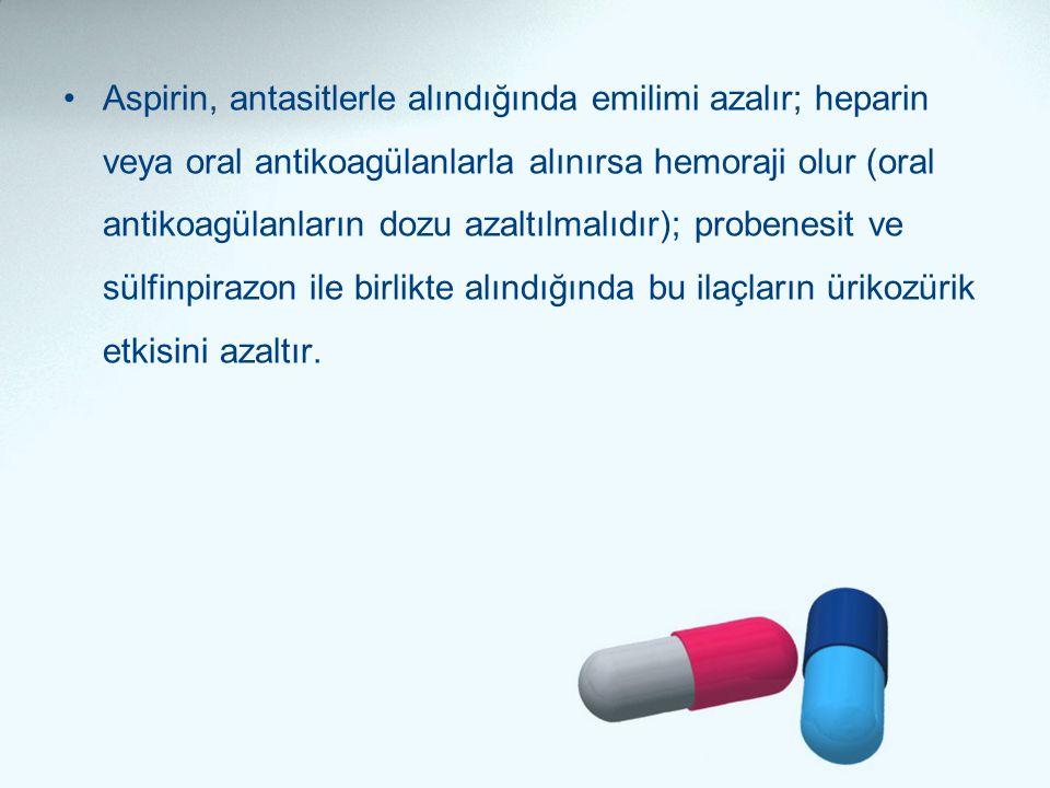 Aspirin, antasitlerle alındığında emilimi azalır; heparin veya oral antikoagülanlarla alınırsa hemoraji olur (oral antikoagülanların dozu azaltılmalıdır); probenesit ve sülfinpirazon ile birlikte alındığında bu ilaçların ürikozürik etkisini azaltır.